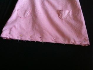 ourlet robe trapèze